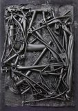 Jan Albers, bikEblackEndEr, 2014<br>spray paint on polystyrene & steel, 109 x 79 x 16 cm, Courtesy VAN HORN, Düsseldorf