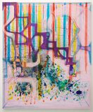 Joanne Greenbaum, Untitled, 2015<br>flashe, oil, ink on canvas, 152,5 x 127 cm<br>Courtesy VAN HORN, Düsseldorf