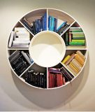 "Katie Holten, Timeline: A Light History of the Earth, books, round bookcase, 2012, 139 x 139 x 39,6 cmInstallation view, ""Light and Landscape"", Storm King Art Center, New York 2012, photo: Jerry L. Thompson"
