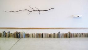 Katie Holten, installation view Salina Art Center 2011, floor: Earth's Water Timeline, 2011, 756 books, c.29 m,wall left: Smoky Hill River(fossilized), 2011shredded newspaper, glue, water, 4,56 m, wall right: Water Atlas of Salina, 2011, cloth bound book, edition of 3, 35,56 x 48,26 cm, photo:Tony Feher