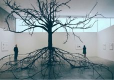 Katie Holten, Excavated Tree (Flowering Dogwood), 2007<br>Newspaper, cardboard, steel, PVC, wire & duct tape, installation view solo-exhibition at the Contemporary Art Museum St.Louis 2007, Photo:Mike Schuh