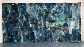 American Dirt Effect (Jeans), 2017-2018<br> bleached recycled denim, acrylic, inkjet prints on Plexiglas, 100 x 196 inches