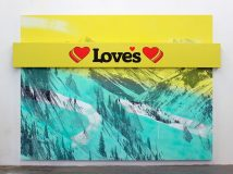 Loves (Rockies), 2017<br>acrylic and inkjet on two canvases, inkjet on UV vinyl, 72 x 96 x 3 1/2 inches