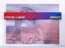 Nascar (Arches), 2017<br>acrylic and inkjet on two canvases, inkjet on UV vinyl, 72 x 96 x 3 1/2 inches