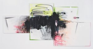 """Wendy White, Mrs. Dash, 2008<br>acrylic and spray paint on four canvases, 84 1/2 x 170 3/4"""""""