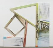 """Wendy White, Reformer, 2009<br>acrylic on two canvases, letter form, 95 1/2 x 100 1/2"""""""
