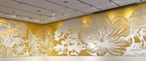 Paul Morrison, Lucent Garden, 2019<br>24 carat gold leaf, 360 degree wall painting<br>The Norton Museum of Art, West Palm Beach, USA